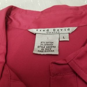 Fred David Tops - Fred David Women's Stretch Pink Blouse Cap Sleeve